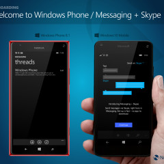 Welcome to Windows Phone message (WP8.1) / Messaging + Skype opt-in screen (W10M)