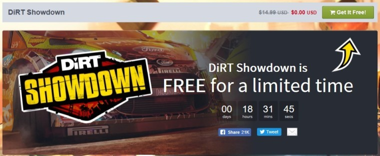 Grab DiRT Showdown for free as part of the Humble Store