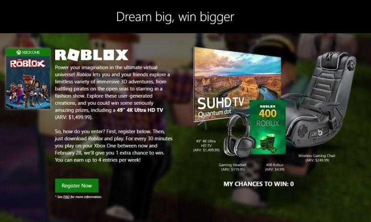 Win a 4K UHD TV for playing free games with Microsoft's