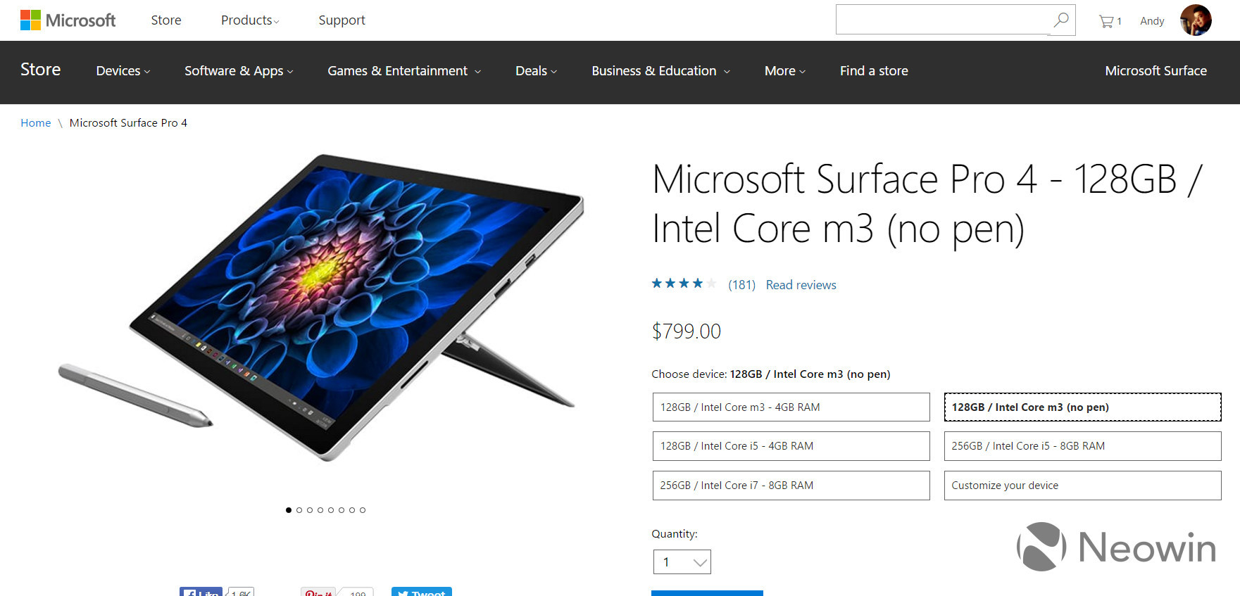 Microsoft is now offering the Surface Pro 4 without its