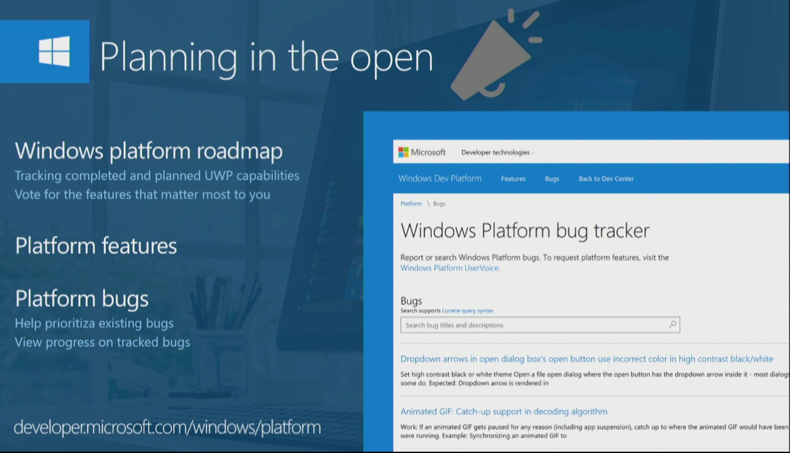 microsoft announces windows platform bug tracker with uwp roadmap