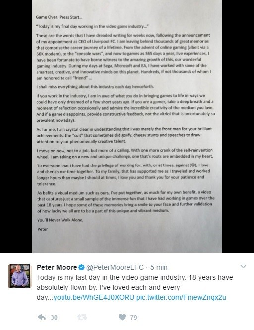Peter Moore Leaves The Games Industry With A Goodbye Letter And