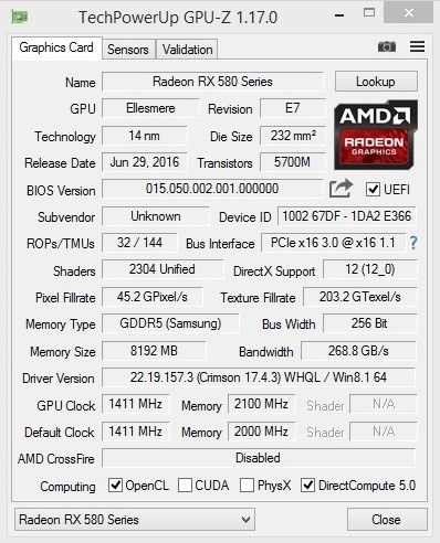 AMD RX 480 GPU can be upgraded into an RX 580 with a BIOS
