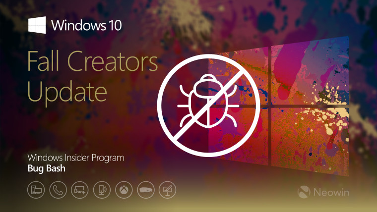 The final Windows 10 Fall Creators Update Bug Bash begins next Friday
