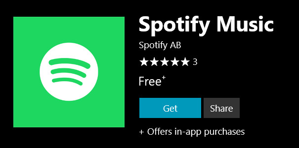 Spotify for Windows 10 PCs appears in the Windows Store, but