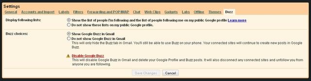 Google Buzz Tab in Gmail