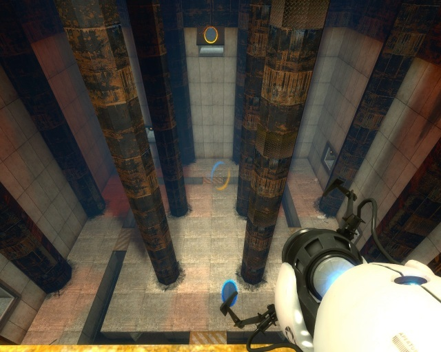Example of Portal game mechanics: Jump onto the blue portal, and you'll fly out of the orange portal.