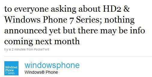 HD2 Upgrade to WP7S Tweet
