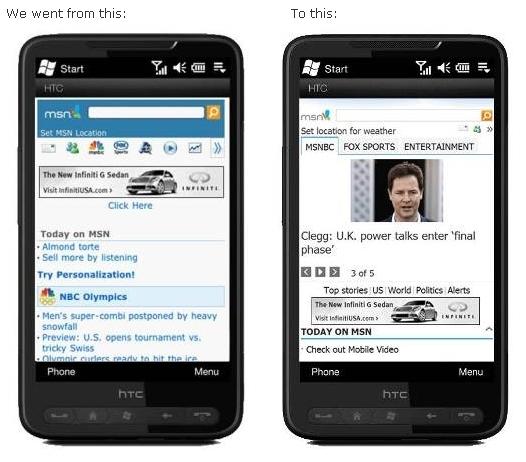 New vs Old MSN Mobile