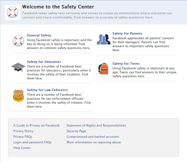 Facebook's new updated Safety Center