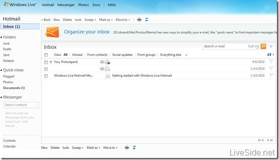 Windows Live Hotmail Wave 4