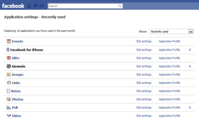 Facebook secret apps