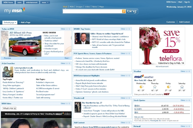 MyMSN Homepage