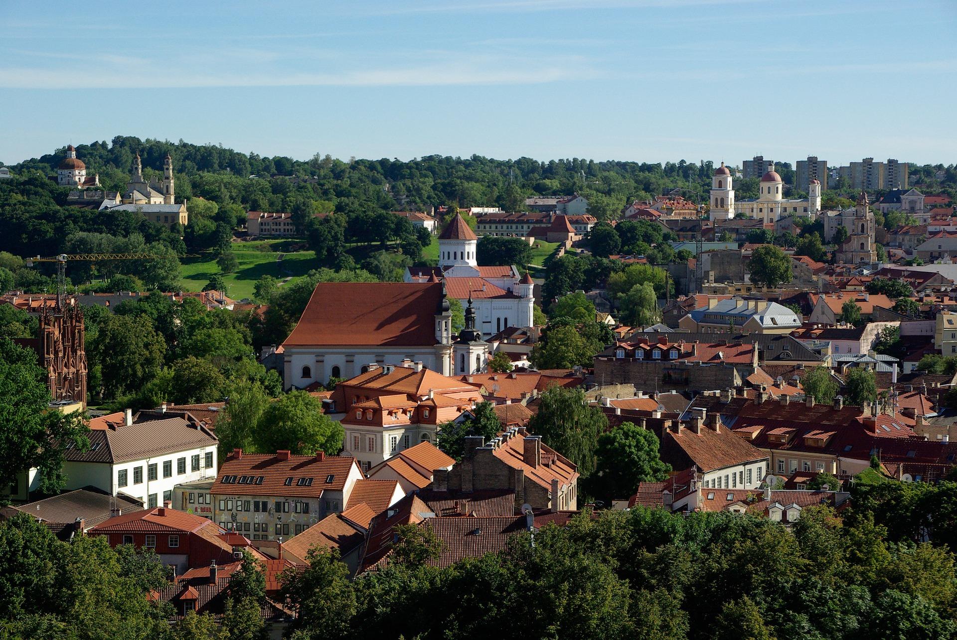 Imagem aérea de Vilnius, em Lithuania