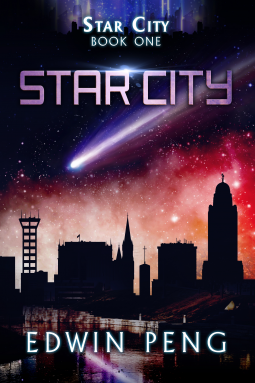 futuristic city on book cover with comet