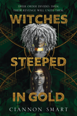 book cover showing illustrated portraits of the protagonists wearing gold jewelry on a black green and gold background