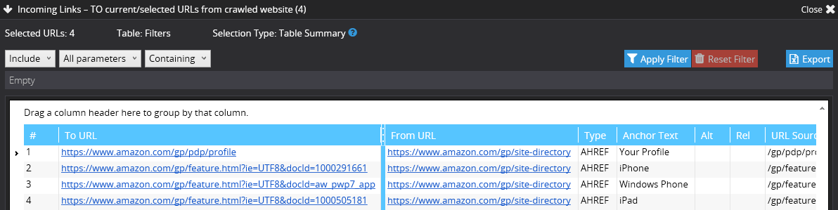 After 2 minutes of crawling Amazon.com we've detected several links that return 4xx status code. And we can easily see all the broken links to this pages