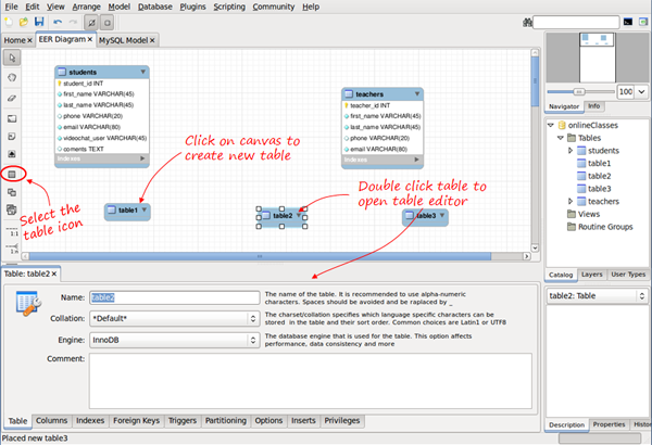 Visual database creation with mysql workbench now you just have to double click the table and the editor tab appears to edit the name columns types etc the same way as we did before ccuart Choice Image
