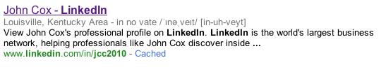 My LinkedIn Result