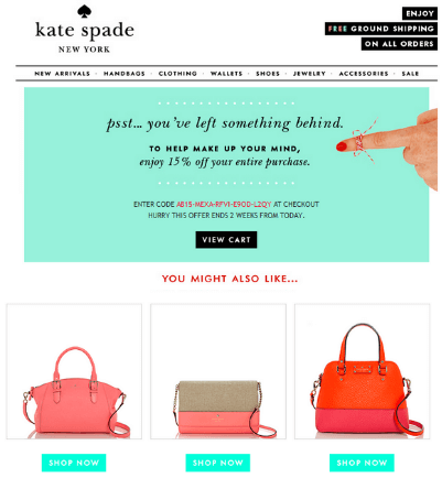 Email design example from Kate Spade