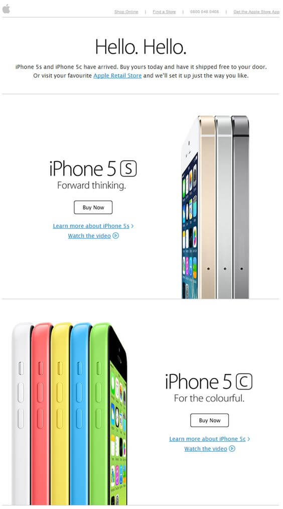 Email design example from Apple's iPhone5.