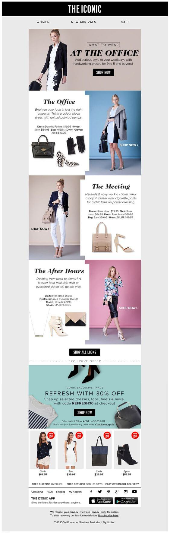 Example of an email marketing design from The Iconic.