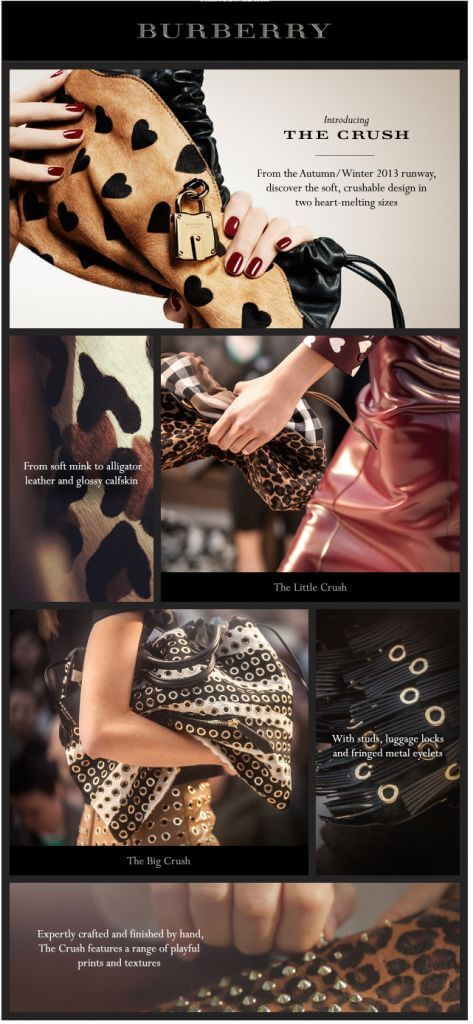 Example of email marketing design from Burberry.