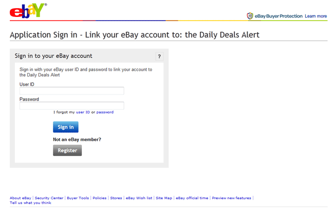 Newsletter signup example on eBay.