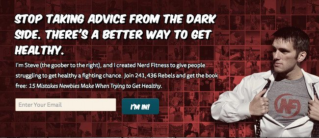 Newsletter signup example on Nerd Fitness.
