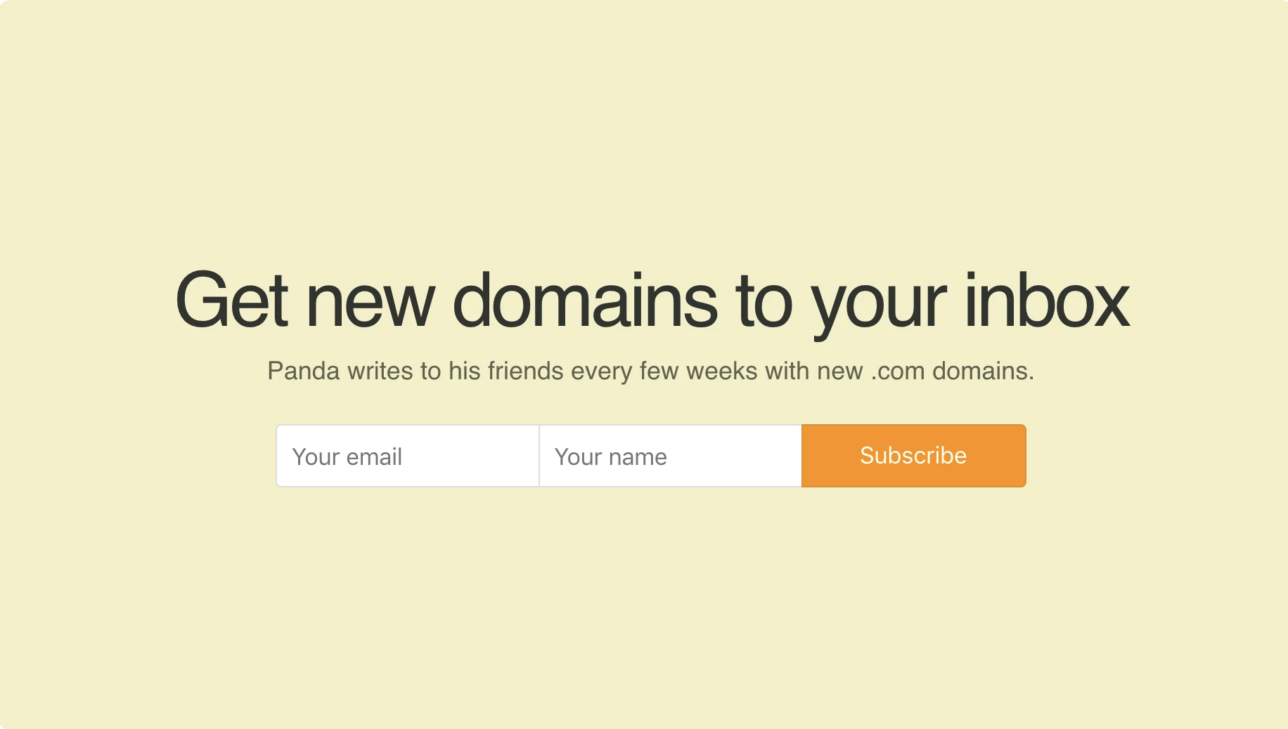 Example of a newsletter signup form on Hustle Panda.