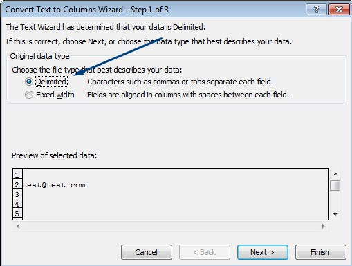 text to column wizard step 1