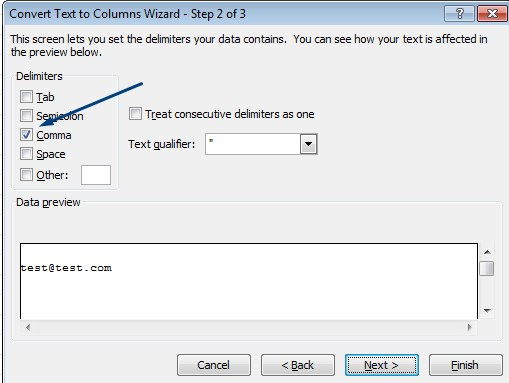 text to column wizard step 2