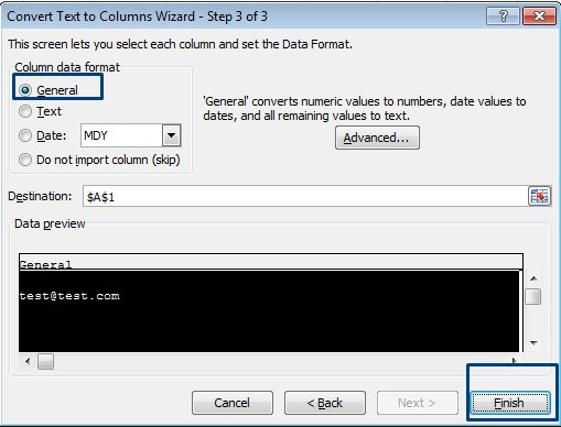 text to column wizard step 3
