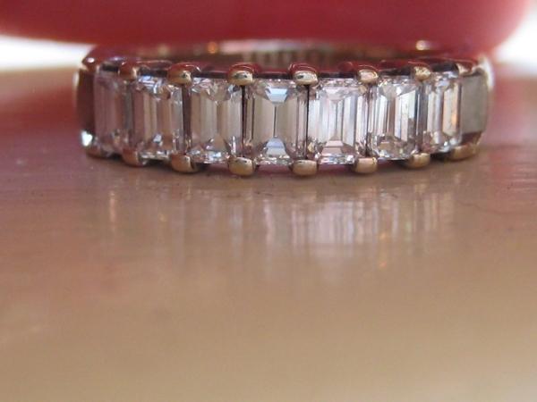 089112fa71ddd Facets 7 stone emerald cut diamond band 18k WG sz 6   Loupe Troop
