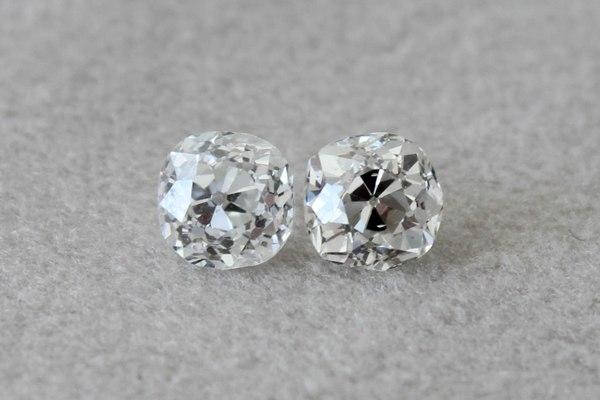 Old Mine Cut Diamond Pair 1 38ctw Antique Cushion Diamond Earrings Loupe Troop