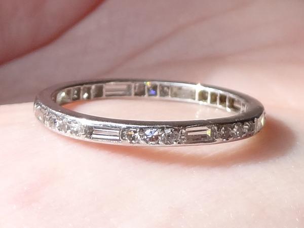 6bf02994e91 Antique Platinum Round   Baguette Diamond Eternity Band Ring Size ...