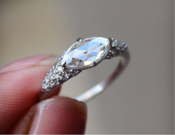 On Hold Marquise Rose Cut Diamond In Custom East West