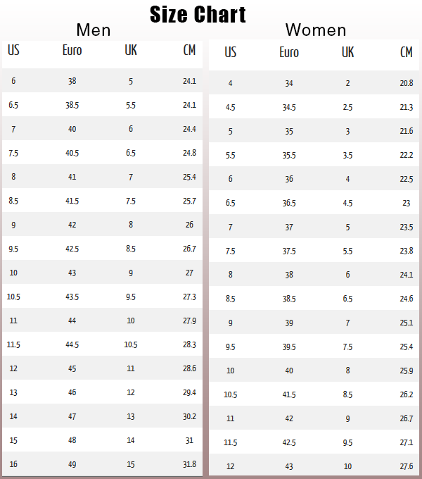 Amazon Men Shoe Size Chart