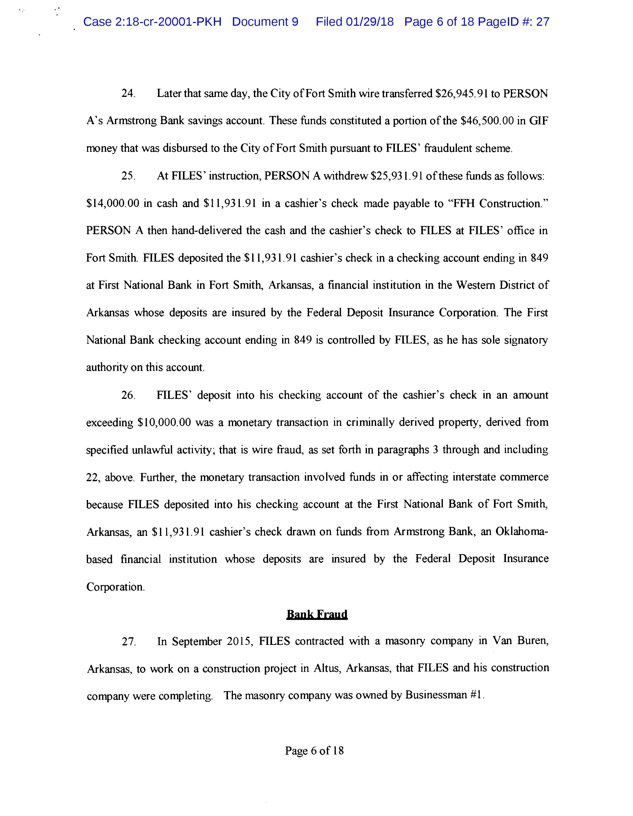 Document: Sen. Jake Files plea agreement