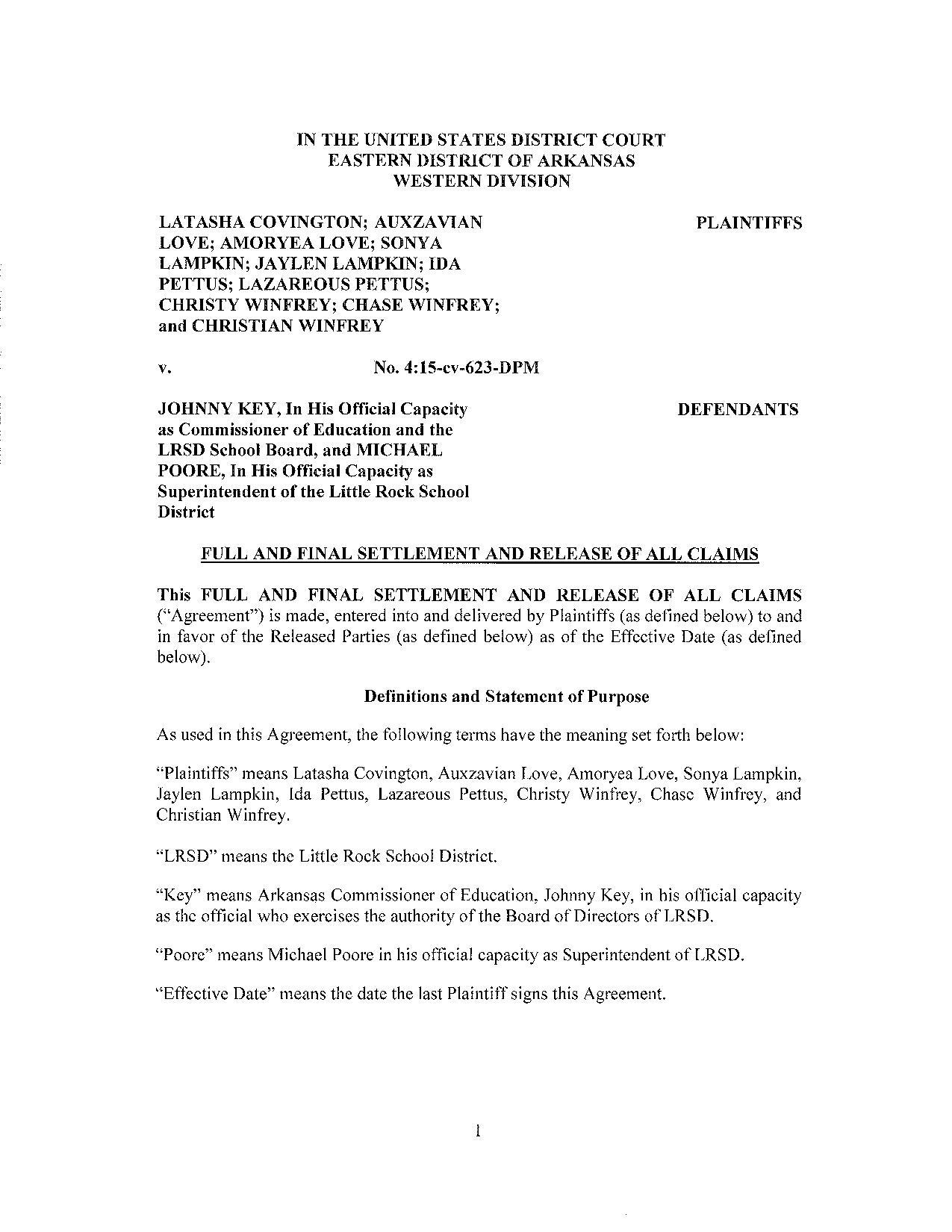 Settlement in the doe vs lrsd case platinumwayz
