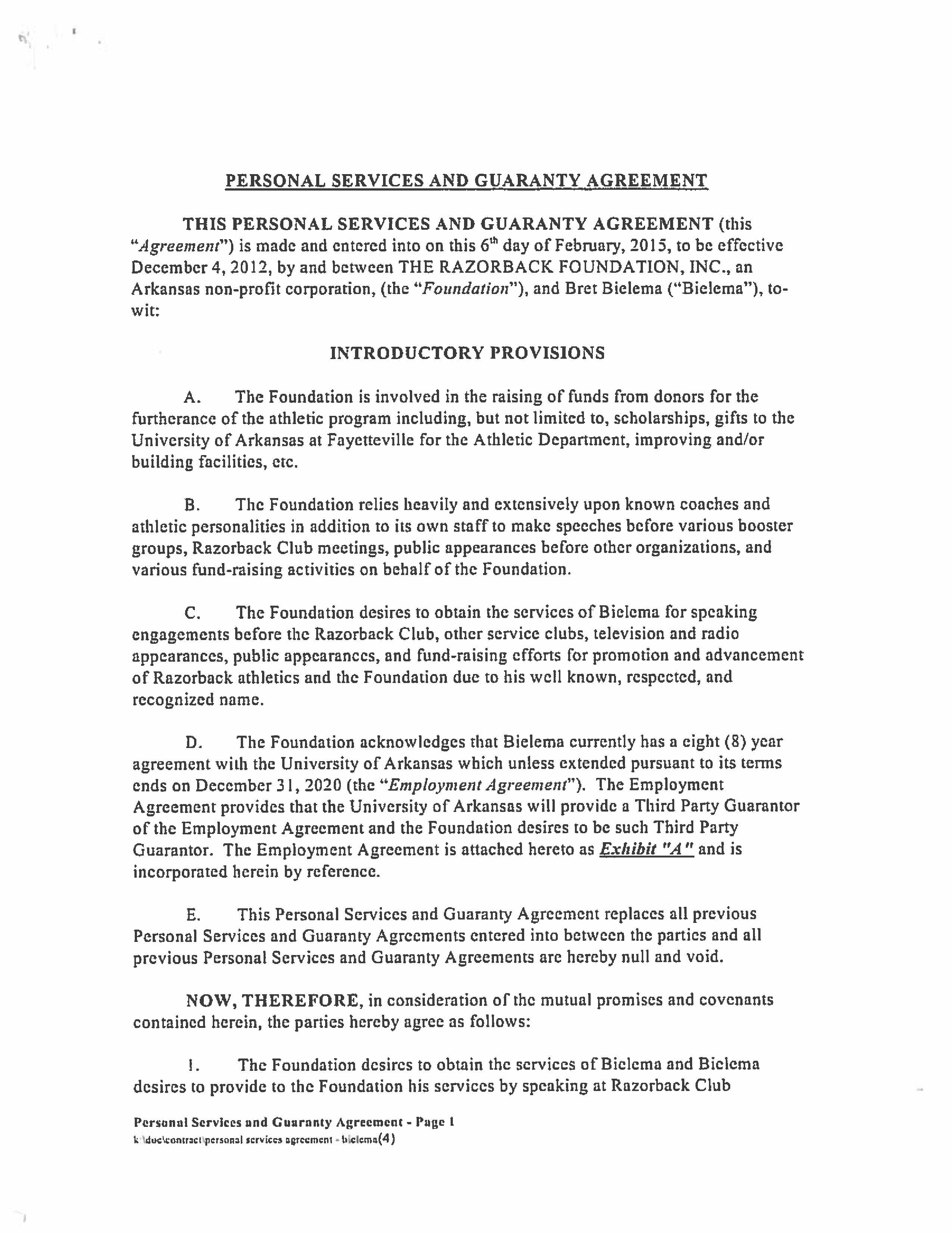 Razorback Foundation Agreement With Bielema