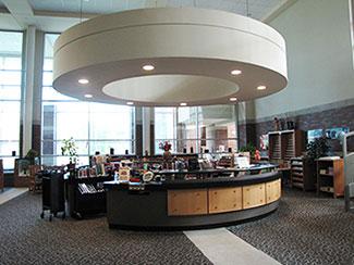 Front desk of library media center