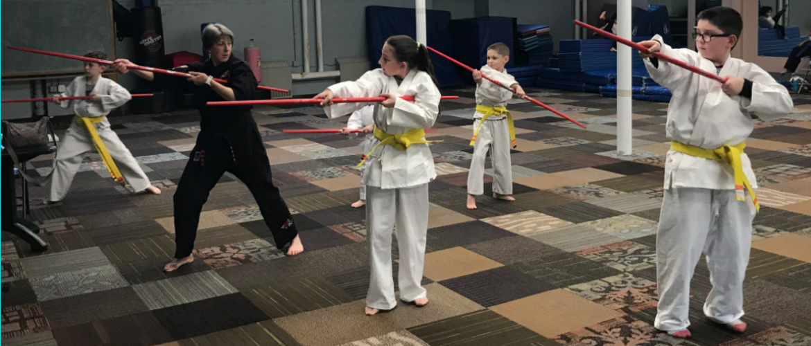 Youth Karate with Staffs