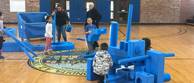 Kids using Giant Foam Blocks