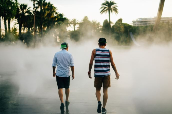 break up with a friend - two guys walking