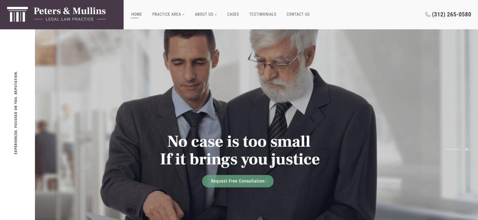 Peters Mullins Attorney Website