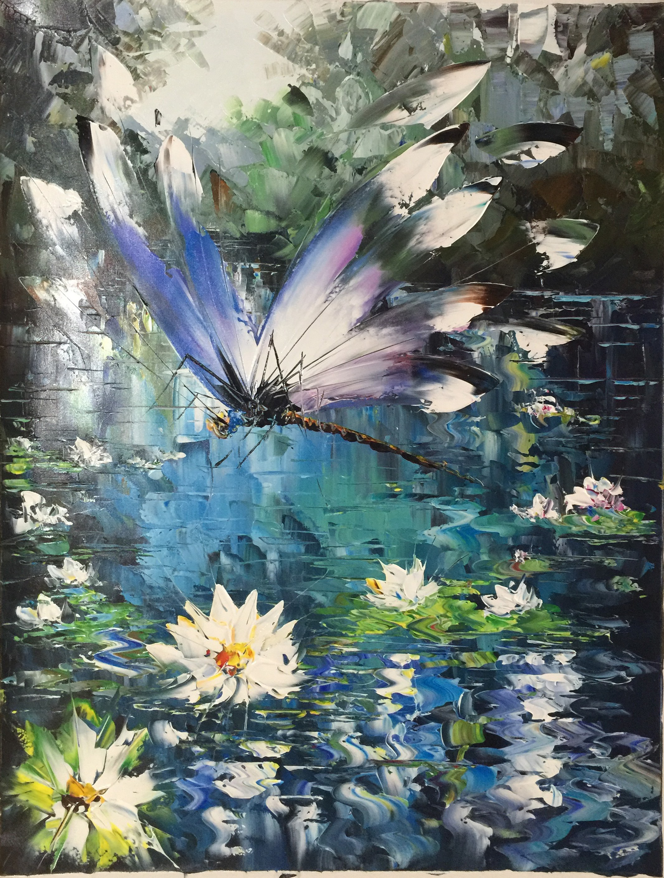 Dragonfly With Water Lilies