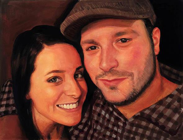 pastel portrait of a couple