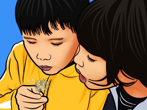 Pop Art of Kids Blowing Flowers