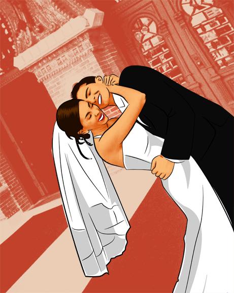 Asymmetrical Wedding Photo to Pop Art